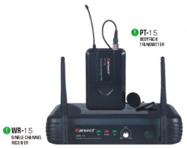 מקרופון אלחוטי מדונה KRSECT WR-15/PT15/HT-9A UHF