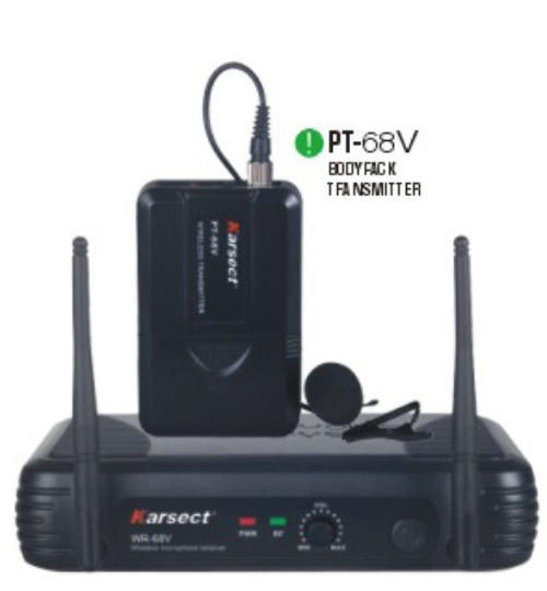 WR-68V RECEIVER SPECIFICATIONS Sensitivity: -95dBm (S/N:12dB) RF Image Rejection:-75dB Audio Dynamic Range:95dBT.H.D.:70dB Neighboring Channel / Interference: >70dB Power Requirements:13-15V DC nominal 200mA BODYPACK TRANSMITTER SPECIFICATIONS RF Power Output: >13dBm Modulation Degree: >30KHz Frequency Stability:± 0.002% Harmonic at Higher Degree: