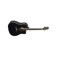גיטרה אקוסטית שחורה מוגברת Shoulder Stagg